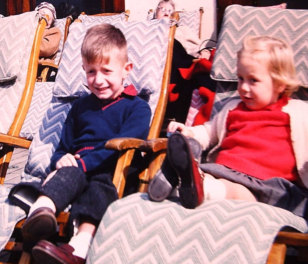 On the Queen Mary with my sister, 1959