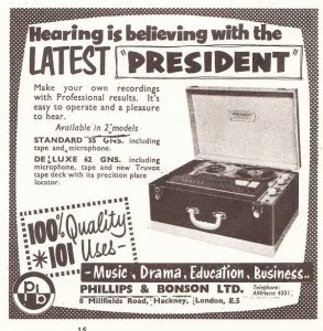 Phillips & Bonson tape recorder ad