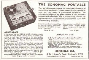 Sonomag tape recorder ad