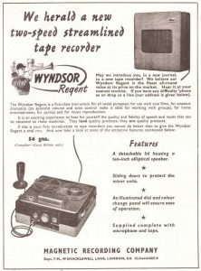 Wyndsor tape recorder ad