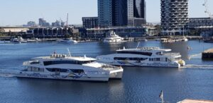 Bellarine Express and Geelong Flyer ferries passing in Victoria Harbour