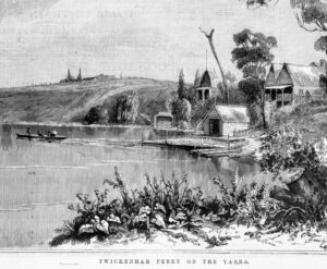 Extract from 1889 David Syme woodcut: Twickenham Ferry on the Yarra